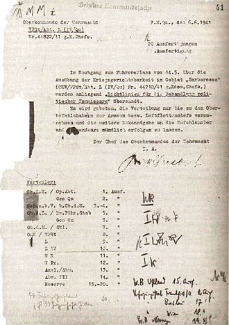 Commissar Order - First page of the Commissar Order, dated 6 June 1941