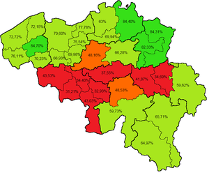 Belgian monarchy referendum, 1950 - The percentage of valid votes in favour of the returning of Leopold III in every electoral arrondissement. Dark green areas are strongly in favour, light green areas narrowly in favour, orange areas narrowly against, and red areas strongly against.