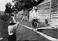 Konstantin Tsiolkovsky on a bicycle (by Feodosiy Chmil), 1932.jpg