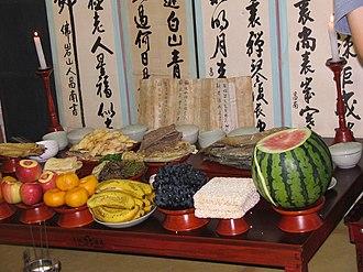 Chuseok - Jesasang, ceremonial table setting on Chuseok.