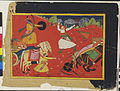 Krishna is attacked by Rukmin, as Rukmini in the chariot pleads for her brother' (6125069616).jpg