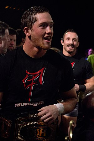 "Bobby Fish - Fish (right) and Kyle O'Reilly appearing in Ring of Honor as the tag team ""reDRagon"" in April 2013. The duo held the ROH World Tag Team Championship on three occasions from 2013 to 2014"