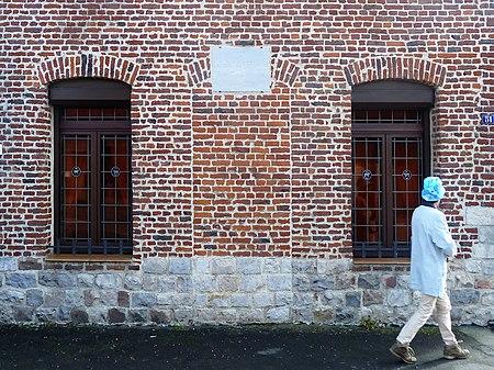 Maison de Elisa Moncomble-Dujardin où Paul Verlaine séjourna au 51 Rue Grand,  Lécluse,  Nord.- (Nord-Pas-de-Calais).-  France