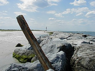 Barnegat Inlet - Barnegat Lighthouse viewed from the jetty constructed in the 1990s