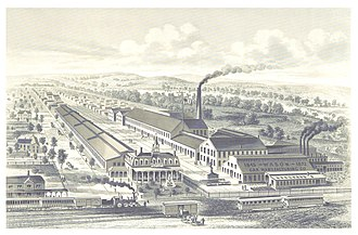 Wason Manufacturing Company - An 1876 engraving of the company's works in Springfield