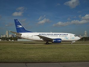 Aerolíneas Argentinas - A Boeing 737-500 taxiing at Aeroparque Jorge Newbery in 2011.