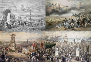 Frédéric Sorrieu - La République universelle démocratique et sociale, painted by Frédéric Sorrieu in 1850. Top left: Le Pacte, Top right: Le Prologue, Bottom left: Le Triomphe, Bottom right: Le Marché