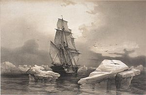 Auguste Étienne François Mayer - The French corvette La Recherche close to Bear Island, Svalbard, August 7, 1838