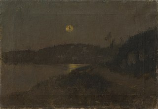 Moonlit night by the River (Landscape by the Moonlight)