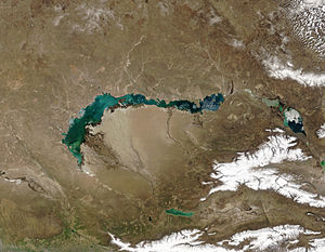 Lake Balkhash - By April 18, 2003 most ice has melted.