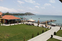 Lake Sevan beach at Best Western Bohemian Resort.JPG