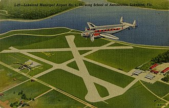 Lakeland Linder International Airport - Postcard of the former Lakeland Municipal Airport No. 1 (Lodwick Field), showing school of aeronautics.