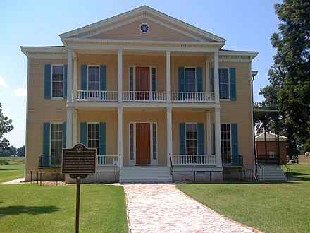 Lakeport Plantation, c. 1859 and built south of Lake Village, is the only remaining antebellum plantation house on the Mississippi River in Arkansas. Many planters became wealthy from the cotton industry in southern Arkansas. Lakeport Plantation, Lake Village, Chicot County, Arkansas.jpg