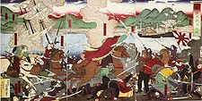 A Japanese romanticized vision of the Battle of Hakodate (函館戦争の図), painted circa 1880. The cavalry charge, with a sinking sailship in the background, is led by the leaders of the rebellion in anachronistic samurai attire. French soldiers are shown behind the cavalry charge in white trousers. With a modern steam warship visible in the background, imperial troops with modern uniforms are on the right.