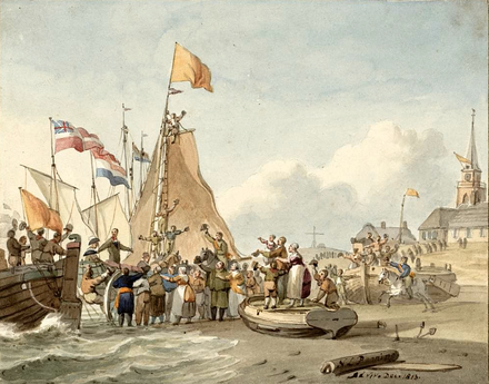 Landing of William in Scheveningen on 30 November 1813 Landing Willem Frederik Scheveningen 1813.png