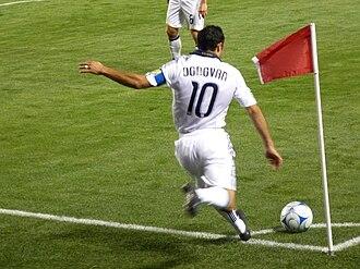 Landon Donovan - Donovan taking a corner kick for the Galaxy