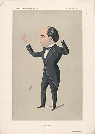 """Landon Ronald - """"Guildhall Music"""" Ronald as caricatured in Vanity Fair, December 1913"""