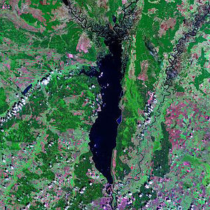 Threat of the Dnieper reservoirs - A satellite photo of the Kiev Reservoir.