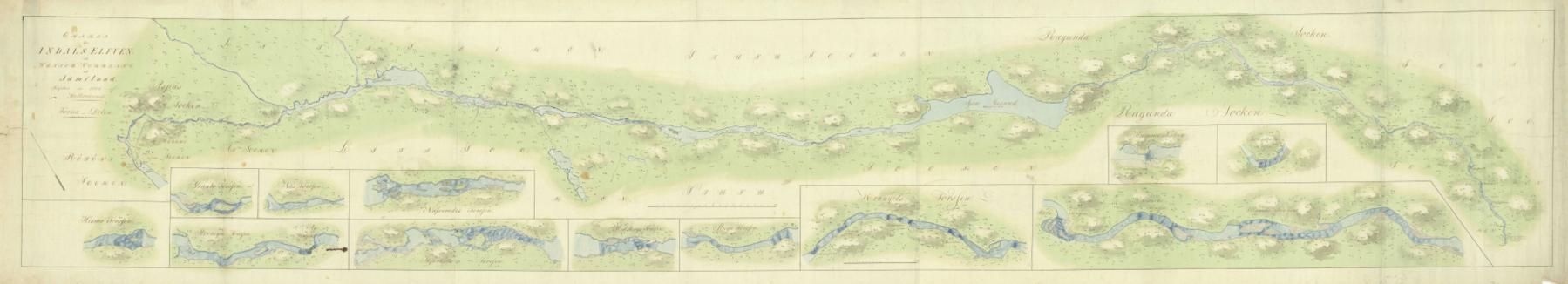Historisk kort fra 1802 under Indalsälvens udbredelse fra Storsøen mod Det botniske hav.