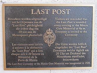Last Post - Last Post plaque, Menin Gate, Ypres, Belgium