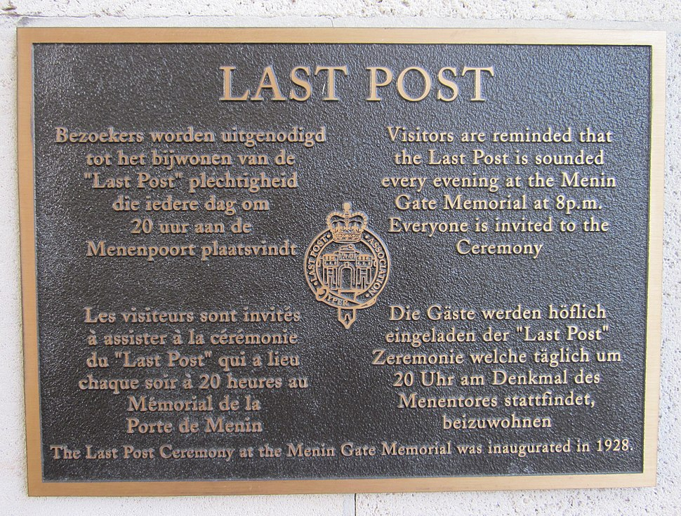 Last Post plaque Ypres