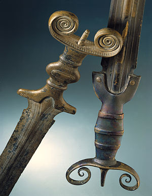 Bronze Age sword - Antenna swords of the Hallstatt B period (c. 10th century BC), found near Lake Neuchâtel  (in  Auvernier and Cortaillod; Laténium  inv. nr. AUV-40315 and CORT-216, respectively)