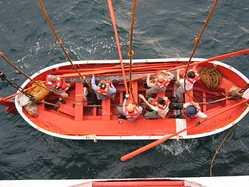 Launching a lifeboat during a mandatory drill.
