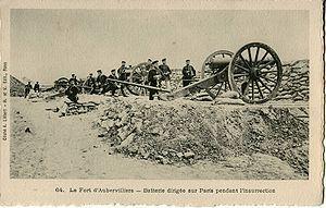 Batería prusiana en Aubervilliers, apuntando a París.