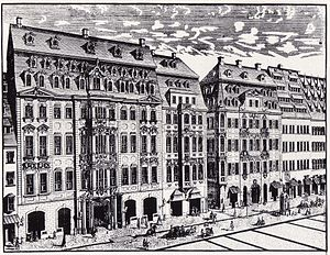 Six Sonatas for Violin and Harpsichord, BWV 1014–1019 - Johann Georg Schreiber, 1720: Engraving of Katherinenstrasse in Leipzig. In the centre is Café Zimmermann, where the Collegium Musicum held weekly chamber music concerts