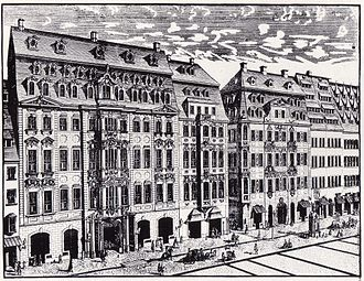 Keyboard concertos by Johann Sebastian Bach - Johann Georg Schreiber, 1720: Engraving of Katherinenstrasse in Leipzig. In the centre is Café Zimmermann, where the Collegium Musicum held weekly chamber music concerts