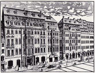 Keyboard concertos by Johann Sebastian Bach - Image: Leipzig Katharinenstr. 14 16, Stich um 1720