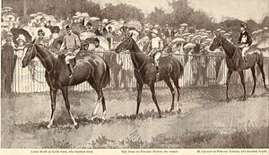Lester Reiff - Reiff (left) on Little Gent, Tod Sloan on Princess Melton and British jockey Morny Cannon at 1900 Produce Stakes run at Newmarket.
