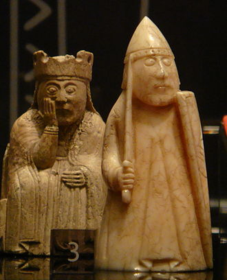 Lewis chessmen - A queen and a warder (rook) in the joint exhibition in Edinburgh, 2010