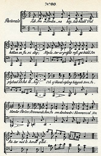 Pastorale - Sheet music for Carl Michael Bellman's Fredman's Epistle 80, Liksom en Herdinna, högtids klädd, one of several pastorales in the 1790 collection