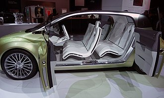 Suicide door - A Lincoln concept car (Lincoln C) from 2009 with rear suicide doors, left side doors open. Note that there is no B-pillar and therefore there are two pillars, A and C.
