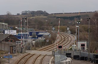 Peterborough–Lincoln line - The line heads away from Lincoln toward Sleaford