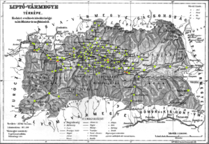Liptó County - Ethnic map of the county with data of the 1910 census (see the key in the description).