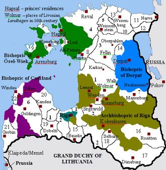 Terra Mariana - Image: Livonia in 1534 (English)