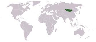 Lage der VR Mongolei auf der Erde