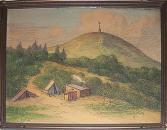 Lone Mountain (California) - Watercolor (1910) by Alice Brown Chittenden. Tents are remnants of camps set up after the 1906 earthquake.