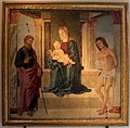 Lorenzo costa, madonna col bambino in trono tra i ss. giacomo e sebastiano, 1491, da arte dei pallacani.jpg