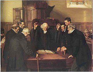 Ministers and elders of the Church of Scotland - The Ordination of Elders in a Scottish Kirk, painting by John Henry Lorimer, 1891