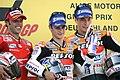 Loris Capirossi, Dani Pedrosa and Nicky Hayden 2007 Sachsenring 2.jpeg