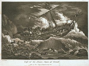 HMS Anson (1781) - 'Loss of the Anson Frigate, off Cornwall', in an 1808 depiction by William Elmes