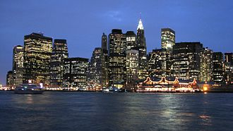 The Financial District area from Brooklyn. The South Street Seaport is at the lower middle, slightly to the right. Circa 2006 Lower Manhattan by night.jpg