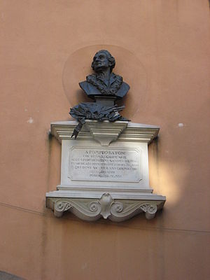 Pompeo Batoni - Bust on the wall of Batoni's birthplace