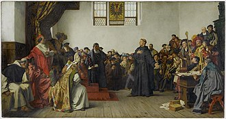Reformation - Martin Luther at the Diet of Worms, where he refused to recant his works which were deemed heretical by the Catholic Church (painting from Anton von Werner, 1877, Staatsgalerie Stuttgart)