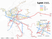 Actual Network of public transports in Lyon.