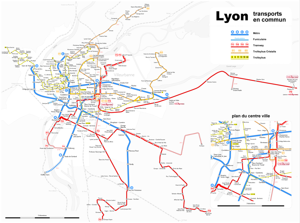 Lyon - transports en commun - Farben nach Transportmittel