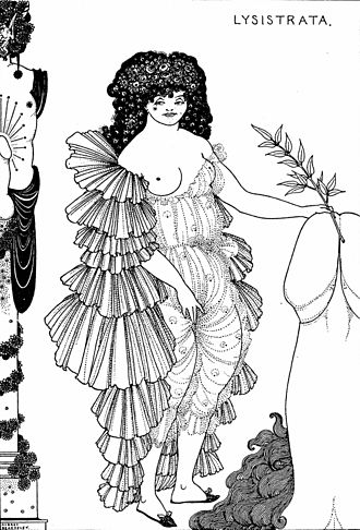 Lysistrata - Illustration by Aubrey Beardsley, 1896.  Dramatis Personae in ancient comedy depend on scholars' interpretation of textual evidence. This list is based on Alan Sommerstein's 1973 translation.